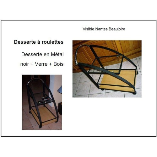 desserte roulettes en m tal noir verre bois achat et vente. Black Bedroom Furniture Sets. Home Design Ideas