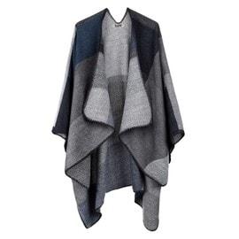 Djt cape poncho femme tricot carreaux tartan style hiver - Cape femme hiver ...