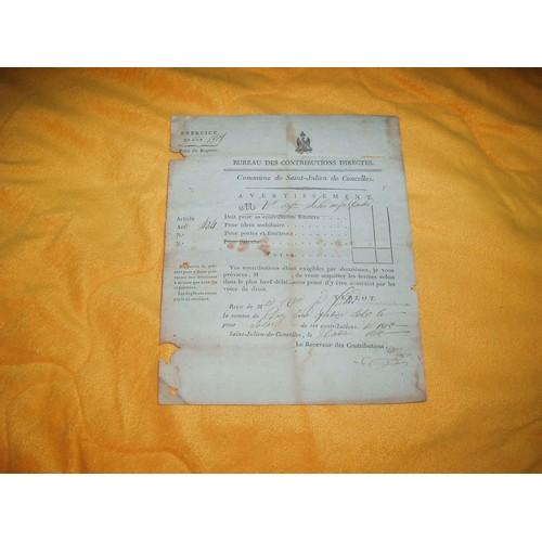 Document ancien exercice de l 39 an 1808 bureau des contributions directes commune de st julien - Bureau des contributions ...