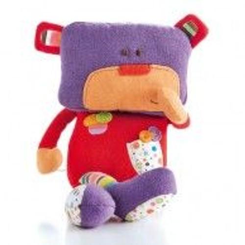 doudou charly l 39 ourson fnac eveil et jeux violet rouge personnage rigolo ours clown lutin t te. Black Bedroom Furniture Sets. Home Design Ideas
