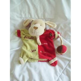 Doudou Chien Rouge Vert Diabolo By Baby Nat' Babynat'