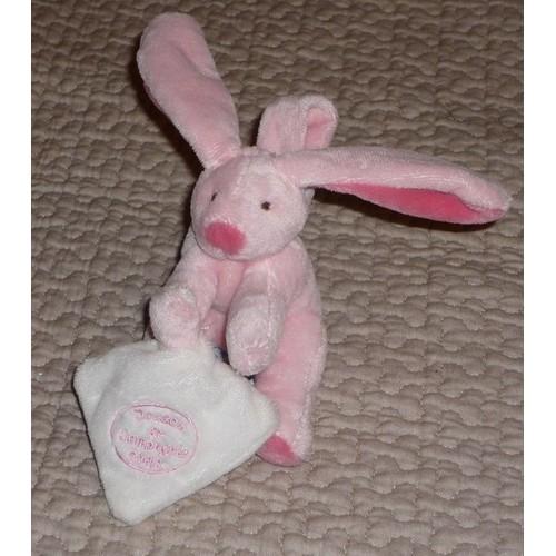 doudou et compagnie mini peluche lapin rose avec son mouchoir 13 cm. Black Bedroom Furniture Sets. Home Design Ideas