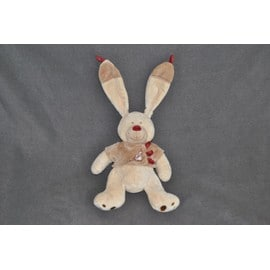 doudou lapin bastien nicotoy kiabi peluche beige marron bordeaux 29 cm oreilles 18 cm veste. Black Bedroom Furniture Sets. Home Design Ideas