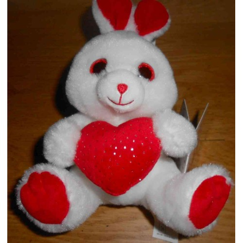 doudou lapin blanc et rouge gipsy les petillous peluche saint valentin coeur rouge petits pois. Black Bedroom Furniture Sets. Home Design Ideas