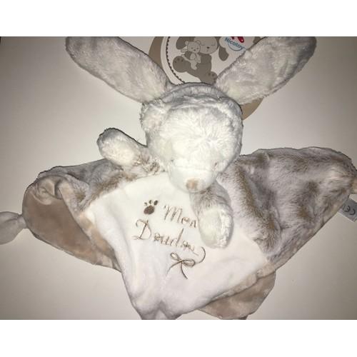 6520f9d8a92 Doudou Lapin Plat Ours Laline Blanc Beige Capuche Mon Doudou Peluche Jouet  Bebe Nicotoy Simba Toys Benelux