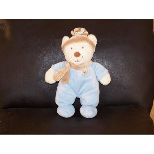 5742943bdffe Doudou Ours Nicotoy Kiabi Beige Bleu Creme Echarpe Beige Bonnet
