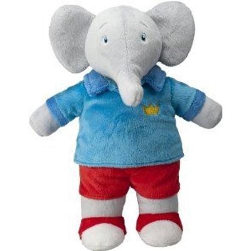 doudou peluche l phant badou c lins lansay 10342 collection babar gris bleu rouge 27 cm jouet. Black Bedroom Furniture Sets. Home Design Ideas