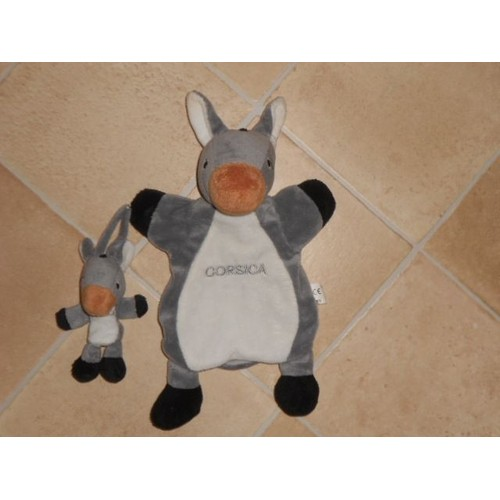 doudou peluche marionnette ne et son b b corsica gris blanc noir grelot oreille avec bruit. Black Bedroom Furniture Sets. Home Design Ideas