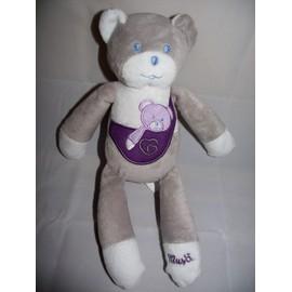 doudou peluche ours ourson musti mustela 27 cm gris blanc violet coeur jouet eveil bebe naissance. Black Bedroom Furniture Sets. Home Design Ideas