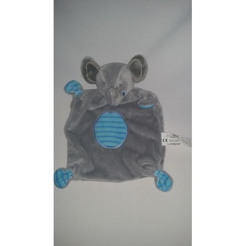 a310b1b578d Doudou Plat Éléphant Gémo Gris Bleu Rayé Jouet Bébé Naissance Peluche Grise  Éveil Enfant Blanket Comforter Soft Toys Blankie Comforter