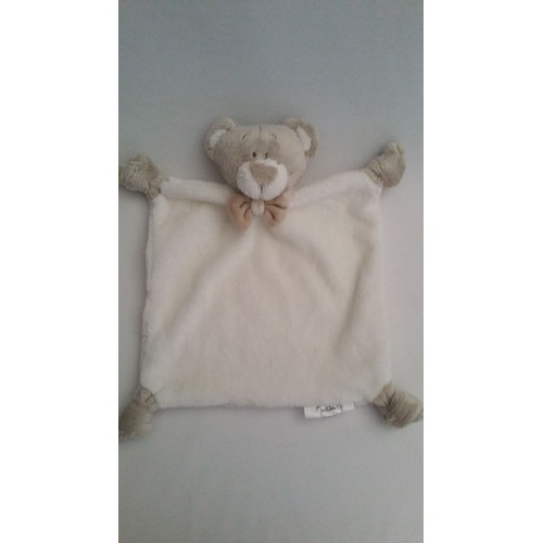 doudou plat ours ourson mathilde m blanc beigecrmecru marron gris n ud jouet bebe