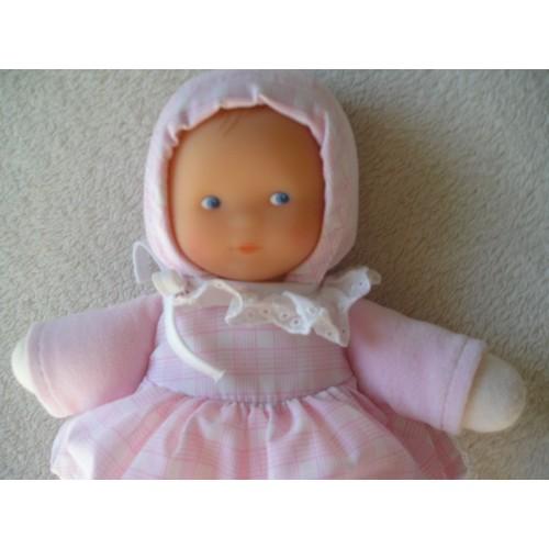 doudou poup e b b fille corolle 2001 avec hochet robe vichy moiti velours rose visage poup e. Black Bedroom Furniture Sets. Home Design Ideas