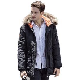taille 40 c7fda 8ee60 Doudoune Homme Hiver Casual Marque Nouveau Fermeture éclair veste Manteau  Mode Couleur unie Col de fourrure grande taille Garder au chaud ...