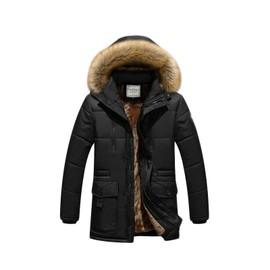 site réputé d6c1b df2fd Doudoune homme hiver Manteaux capuche de col de fourrure Manteaux homme  couleur unie de Grande taille la mode de vêtement masculin-Kaki ZS300956