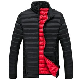 plus bas rabais prix plus bas avec caractéristiques exceptionnelles Doudoune homme la mode hiver de col en stand Manteau matelasse homme  Blouson Couleur unie Garder au chaud de Vêtements décontractés-Noir