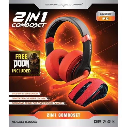 Dragonwar Comboset 2 In 1 Rouge Souris Filaire 43 Casque Gaming