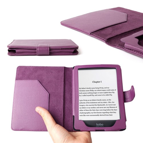Duragadget etui violet en aspect cuir pour le kobo glo 6 for Housse liseuse kobo