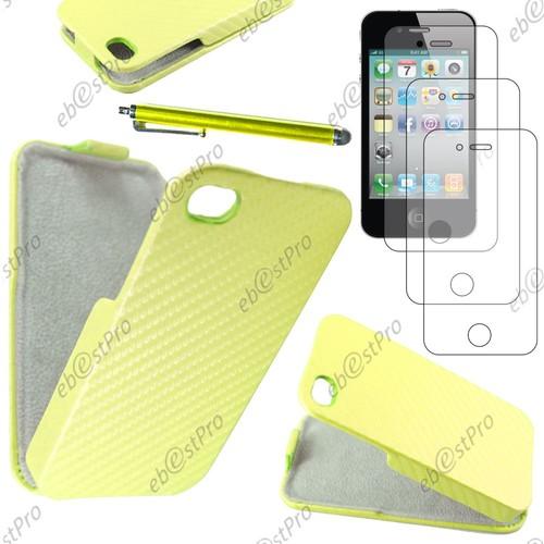 e2ba9fe138be02 ebeststar-housse-coque-etui -a-rabat-revetement-carbone-pour-apple-iphone-4s-4-couleur-jaune-stylet-3-film-1039605878 L.jpg