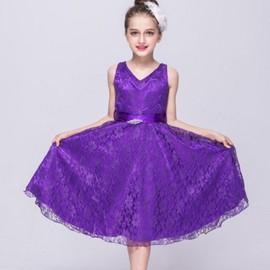 f22a60e6efe7e Enfants Joli Dentelle Fleur Princesse Robe - Violet - Achat et vente