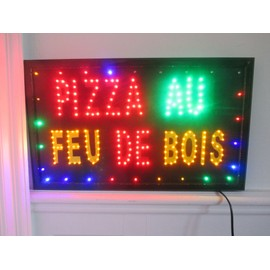 enseigne led pizza au feu de bois panneau leds lumineux pour restaurant d co commerce. Black Bedroom Furniture Sets. Home Design Ideas