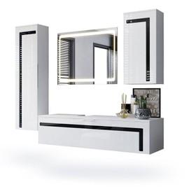 Ensemble De Salle Bain Blanc Et Noir Avec Miroir