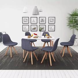 Ensemble De Table Et Chaise À Manger 7 Pcs Blanc Et Gris Foncé