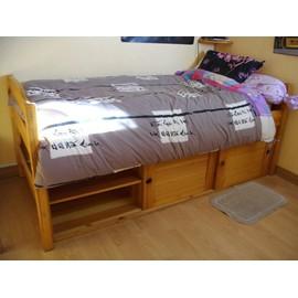 ensemble lit 1 personne 90x200cm avec rangement et une armoire en pin massif. Black Bedroom Furniture Sets. Home Design Ideas