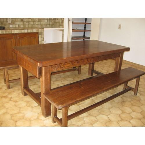 ensemble table de ferme buffet et 2 bancs en chene massif. Black Bedroom Furniture Sets. Home Design Ideas