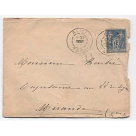 Enveloppe, Cad Albi 27 Juin 1887, Sur Sage 15 C. Bleu