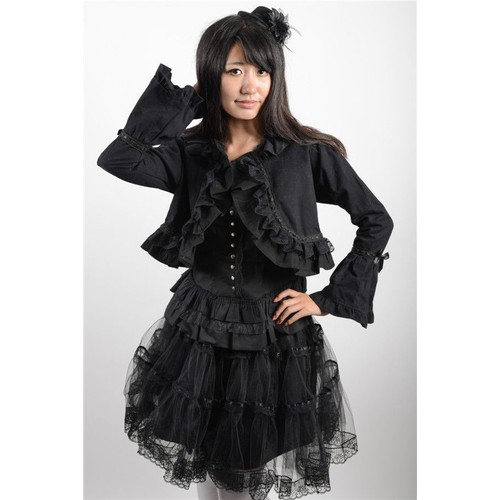 Gilet Court Top Haut Veste Coton Noir Dentelle Noeuds Ruban Col Gothic Kuro  Lolita Gothique Emo Mode Japonaise