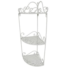 etagere d'angle fer forge blanc