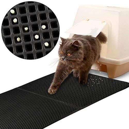 etanche tapis liti re pour chat double couche pliable et d tachable noir emp cher la liti re de. Black Bedroom Furniture Sets. Home Design Ideas