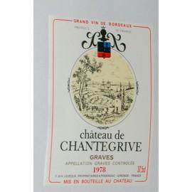 Etiquette Chateau Chantegrive 1978 Paysage Mer Bateau Blason