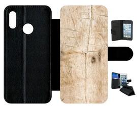 Etui a rabat - Bois - compatible avec huawei P20 lite - Simili-cuir - bord Noir