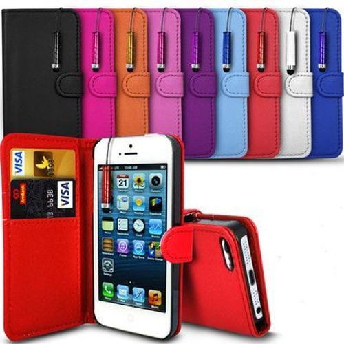 etui coque housse iphone 4 4s 5 5s 5c cuir carte credit couleurs stylet