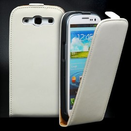 Etui Cuir Blanc + Film Protection Ecran Pour Samsung Galaxy S3 I9300 Genuine Leather Flip Case