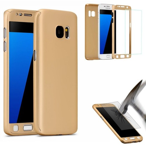 etui housse coque 360 full protection samsung galaxy s7 edge film vitre verre trempe gold. Black Bedroom Furniture Sets. Home Design Ideas