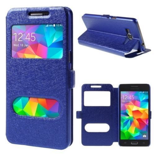 etui housse coque pochette fen tre view case bleu nuit pour samsung galaxy core prime. Black Bedroom Furniture Sets. Home Design Ideas