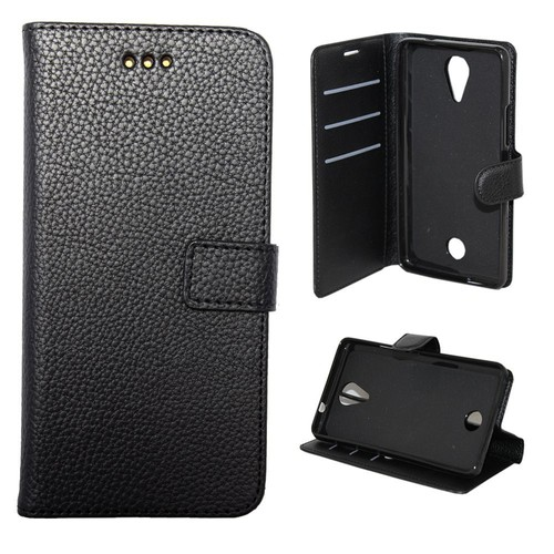 Etui housse coque portefeuille wiko tommy noir pas cher for Housse wiko tommy 2