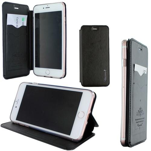 Etui Luxe Rabattable Noir Et Support Carte De Visite Pour Apple Iphone 7 Plus