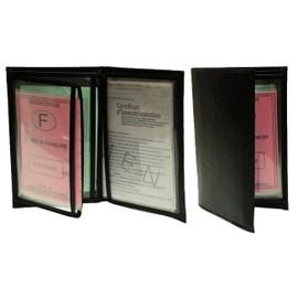 etui pochette carte grise permis cuire emplacements cartes noir ou rouge. Black Bedroom Furniture Sets. Home Design Ideas