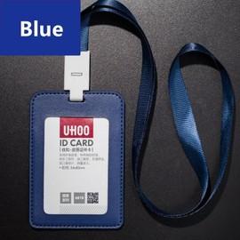 Etui Porte Badge Carte Visite Id Travail Identite Housse En Cuir Pu Double Pochette Protecteur Acces Bus Avec Cordon