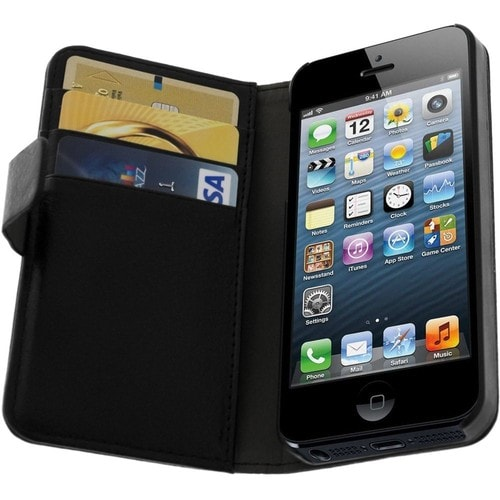 Etui portefeuille cuir apple iphone 5 5s housse for Housse cuir iphone 5