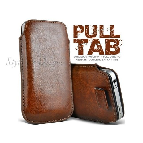 Etui pouch cuir marron haute qualit housse coque apple for Etui housse iphone 5