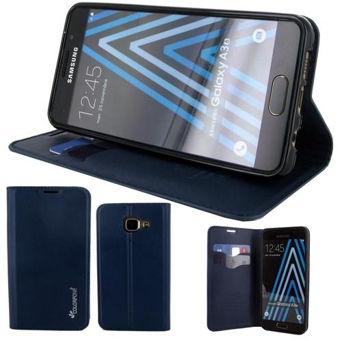 Etui Rabattable Luxe Bleu Nuit Avec Support Et Emplacement Carte De Visite Pour Samsung Galaxy A3 2016