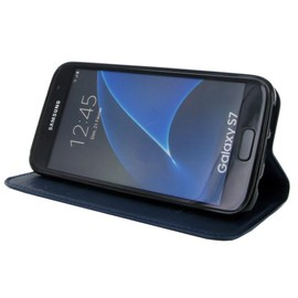 Etui Rabattable Luxe Bleu Nuit Avec Support Et Emplacement Carte De Visite Pour Samsung Galaxy S7