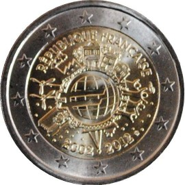euro pi ce 2 euros comm morative 2012 france 10 me anniversaire de l 39 introduction des. Black Bedroom Furniture Sets. Home Design Ideas