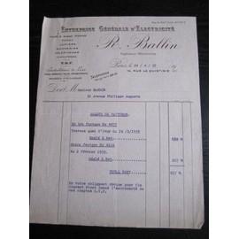facture entreprise g n rale d 39 lectricit ballin 1937. Black Bedroom Furniture Sets. Home Design Ideas