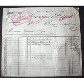 Facture picerie en gros avril 1925 ancienne maison c for Cuisinier 7 lettres