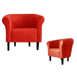 fauteuil crapaud monaco 2 simili cuir rouge achat et vente. Black Bedroom Furniture Sets. Home Design Ideas